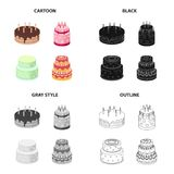 A festive cake and other types of dessert. Cakes set collection icons in cartoon black monochrome outline style vector. Symbol stock illustration Stock Photo