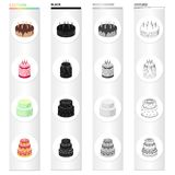 A festive cake and other types of dessert. Cakes set collection icons in cartoon black monochrome outline style vector. Symbol stock illustration Stock Image