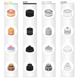A festive cake and other types of dessert. Cake set collection icons in cartoon black monochrome outline style vector. A festive cake and other types of dessert Royalty Free Stock Photos