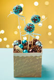 Festive cake pops in green box Stock Photography
