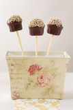 Festive cake pops in vintage box Stock Photography