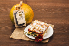 Festive cake and pumpkin Royalty Free Stock Photography