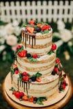 Festive cake three tiers fresh fruit celebration stock images