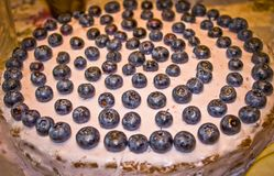 Birthday cake for two years with blueberries Royalty Free Stock Photos