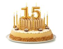 Free Festive Cake With Golden Candles - Number 15 Royalty Free Stock Images - 156475649