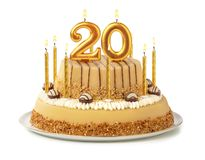 Free Festive Cake With Golden Candles - Number 20 Stock Images - 155228514