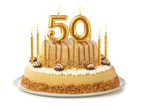Free Festive Cake With Golden Candles - Number 50 Royalty Free Stock Images - 155228179