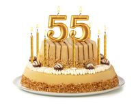 Free Festive Cake With Golden Candles - Number 55 Royalty Free Stock Images - 157095249