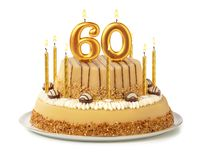 Free Festive Cake With Golden Candles - Number 60 Stock Images - 155228444