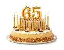 Free Festive Cake With Golden Candles - Number 65 Stock Photography - 157095322
