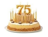 Free Festive Cake With Golden Candles - Number 75 Stock Photos - 155228353