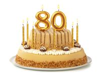 Free Festive Cake With Golden Candles - Number 80 Royalty Free Stock Images - 155228219