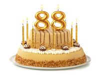 Free Festive Cake With Golden Candles - Number 88 Stock Photography - 157095462