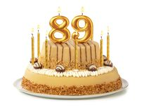 Free Festive Cake With Golden Candles - Number 89 Royalty Free Stock Photography - 157095477
