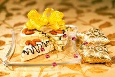 Festive cakes and Christmas decor Stock Photography