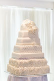 Festive cakes on display at a wedding reception. Festive cakes on display at wedding reception Royalty Free Stock Photos