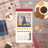 Festive Calendar Decorated Workspace Top Angle View Happy New Year Merry Christmas Greeting Card. Flat Vector Illustration Royalty Free Stock Photos