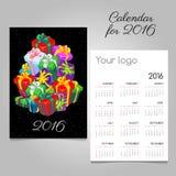 Festive calendar with a mountain of gift boxes. Festive vector calendar with a mountain of gift boxes Stock Photos