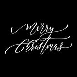 Festive calligraphy text greeting Merry Christmas. Greeting card design element. Merry Christmas calligraphy text. White festive decorative  hand drawn lettering Stock Image