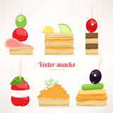 Festive canapes. Set of six kinds of festive snacks. canapes Royalty Free Stock Photography