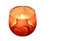 Festive candle with flame isolated stock photos