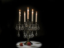 Festive candle with strawberries Royalty Free Stock Image