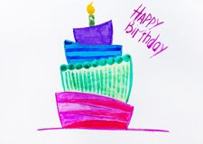 Festive candle watercolor. Multi-colored festive candle on birthday. With an inscription happy birthday. It is possible to use as a background or a card Royalty Free Stock Photography