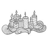 Festive candles with a beautiful pattern. Royalty Free Stock Photos
