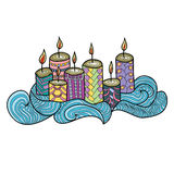 Festive candles with a beautiful pattern. Stock Photo
