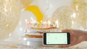 Festive Candles Happy Birthday On A Cake 1080p Fullhd Stock Footage