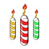 Festive candles icon, cartoon style. Festive candles icon in cartoon style isolated on white background. Holiday symbol stock illustration