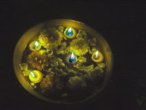 Festive Candles Lit Up For Ritual Worship India Royalty Free Stock Photos
