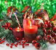 Festive candles with traditional decorations Stock Image