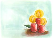 Festive candles. A watercolor frame/ card of three Christmas candles and holy with space on the left side for text Royalty Free Stock Images