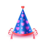 Festive Cap With Hearts Isolated Illustration. Bright blue festive cap with pink hearts and ribbon isolated on white background. Funny party accessory vector Royalty Free Stock Photos