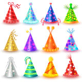 Festive Caps Collection for Celebration on White. Festive caps collection for parties and celebrations holidays on white. Vector poster of colourful festive caps Stock Images