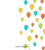Festive card with balloons. Departing spheres. Stock Photography