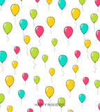 Festive card with balloons. Departing spheres. Royalty Free Stock Photos