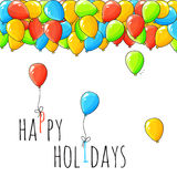 Festive card with balloons. Departing spheres. Stock Images
