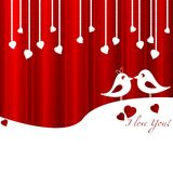 Festive card with birds in love for Valentine's day. February 14 - day for all lovers. Vector illustration Stock Images
