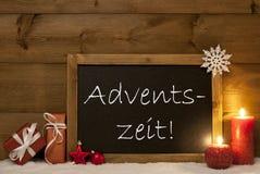 Festive Card, Blackboard, Snow, Adventszeit Mean Christmas Time Stock Photography