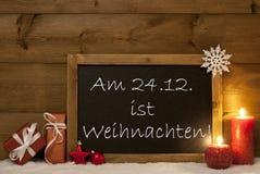 Festive Card, Blackboard, Snow, Weihachten Mean Christmas Stock Photos