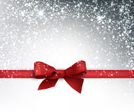 Festive card with bow. Festive card with red bow and snow. Vector illustration Stock Photo