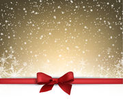 Festive card with bow. Festive card with red bow and snow. Vector illustration Royalty Free Stock Images