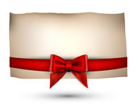 Festive card with bow. Festive card with red bow. Vector illustration Royalty Free Stock Photos