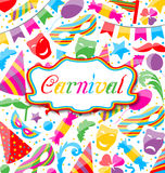 Festive card with carnival and party colorful icons and objects. Illustration festive card with carnival and party colorful icons and objects - vector Stock Image