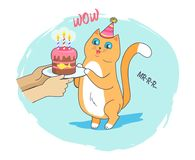 Festive Card with Cheerful Cat Vector Illustration. Festive card with cheerful cat with blue eyes, vector illustration of birthday kitty with cute cone with Stock Image