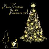 Festive card by Christmas and New Year. Gold tone, the color vector image on a black background Royalty Free Stock Photography