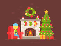 Festive card with Christmas tree, fireplace and character. Festive cozy card with Christmas tree, fireplace and character in flat style isolated on dark Stock Photos