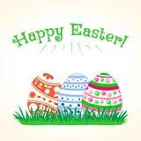 Colorful Easter eggs on green grass. Vector illustration vector illustration